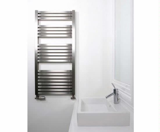 Brushed Chrome Bathroom Radiators: Aeon Sculptural Radiators